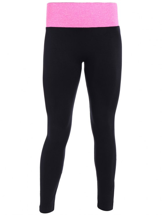 women Tight Fit Active Leggings - BLACK AND ROSE RED S