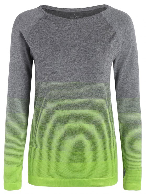 lady Long Sleeved Ombre Sports Tee - NEON GREEN S