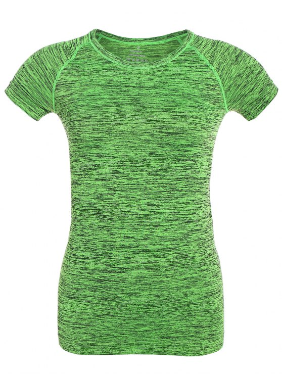 best Space Dye Short Sleeve Sports T-Shirt - NEON GREEN L