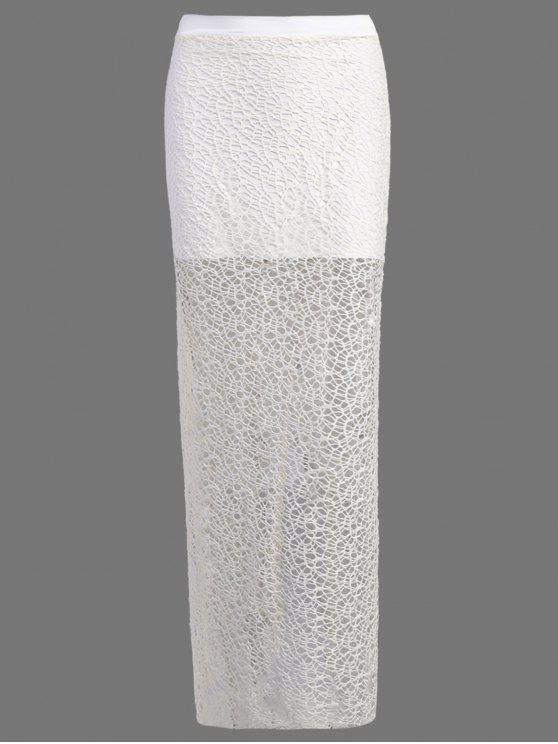 fancy Long Lace Slit Skirt - WHITE L