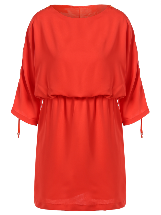 affordable Drawstring Sleeve Waist Slimming Dress - ORANGE RED L
