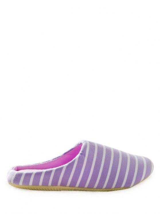 shops Color Block Flat Heel Stripe House Slippers - PURPLE 37