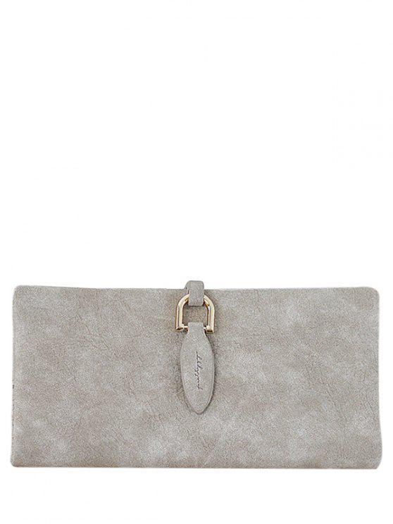 Portefeuille d'embrayage à deux plis avec embellissement métallique - Kaki Clair