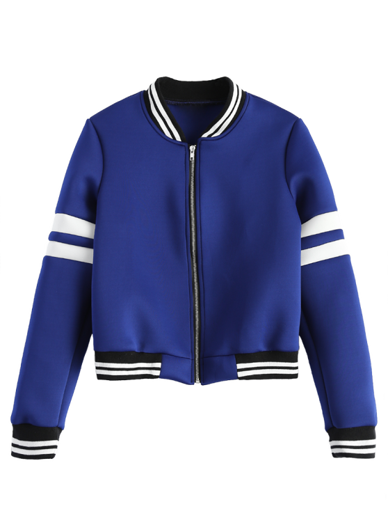 outfit Striped Sleeve Bomber Jacket - BLUE S
