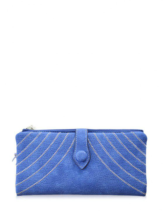women Stitching Tassel Clutch Wallet - BLUE