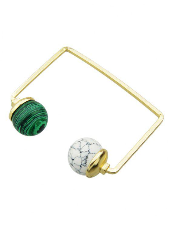 shop Artificial Gem Ball Cuff Bracelet - WHITE AND GREEN