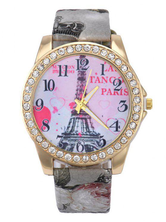32fd81869be Relógio Quartz Pulseira Couro Falso Estampada Mostrador Torre Eiffel - Cinza