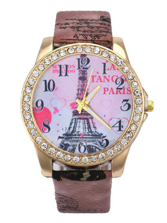 chic Faux Leather Band Eiffel Tower Quartz Watch - BROWN