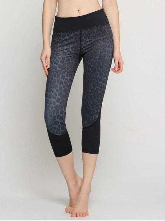shop Leopard Capri Yoga Leggings - BLACK XXS