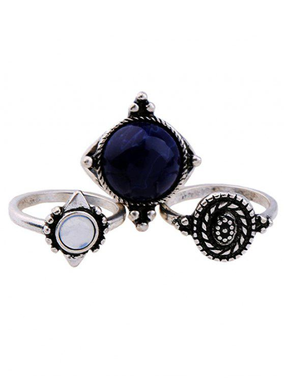 chic Artificial Sapphire Ring Set - SILVER ONE-SIZE
