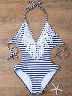 Monokini Rayé à Franges  - Bleu Et Blanc S