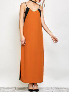 Robe Longue Contraste Garniture Bretelles - Camel S