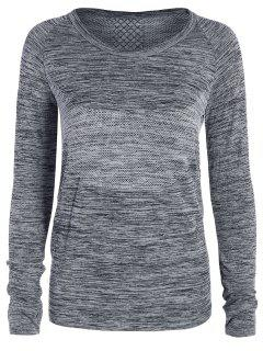 Long Sleeved Space Dye Sports Tee - Gray M