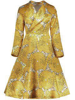 Vintage Printed Surplice Flare Dress - Yellow Xl