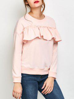 Ruffles Jewel Neck Sweatshirt - Pink Xl