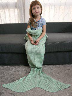 Keep Warm Crochet Knitting Mermaid Tail Style Blanket For Kids - Mint Green