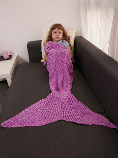 Keep Warm Crochet Knitting Mermaid Tail Style Blanket For Kids - Rose Madder