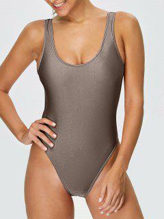 High Cut Backless Swimsuit - Khaki Xs