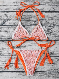 Tassel String Lace Thong Bikini - Orange M