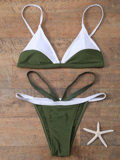 Color Block V String Bathing Suit - Army Green S