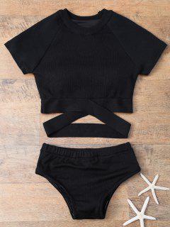 Alta Subida Del Bikini De Cuello Redondo - Negro M