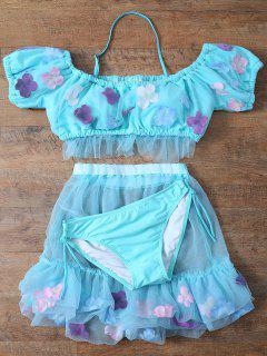 Tulle Three Piece Bikini - Light Blue S