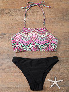 Halter Bikini Set With Diamond Print - Black L