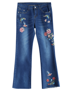 Zip Fly Flower Embroidered Jeans - Denim Blue S