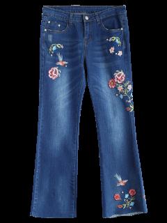 Pantalon En Denim Zippé Brodé Fleur - Bleu Toile De Jean S