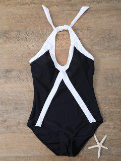 Color Block Sports One-Piece Swimwear - White And Black S