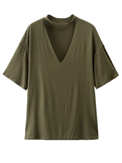 Choker Drop Shoulder T-Shirt - Greyish Green M