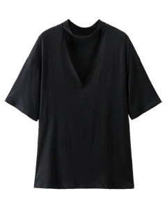 Choker Drop Shoulder T-Shirt - Black S