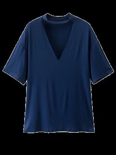 Choker Drop Shoulder T-Shirt - Cadetblue L