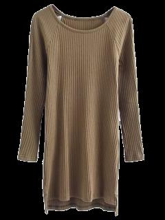 High Low Long Sleeve Cut Out Knit Dress - Hampton Green S