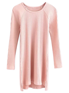 High Low Long Sleeve Cut Out Knit Dress - Pink S