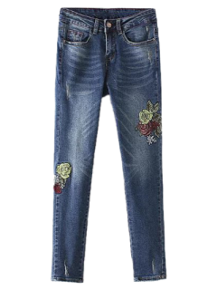 Dark Wash Frayed Floral Embroidered Jeans - Deep Blue S