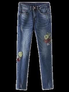 Dark Wash Frayed Floral Embroidered Jeans - Deep Blue S