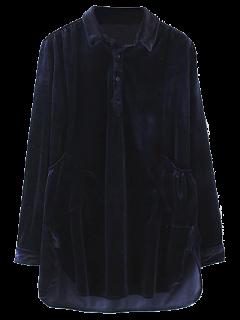 Patch Pockets Velvet Shirt Dress - Purplish Blue S