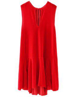 Frill Hem Velvet Tank Dress - Red L