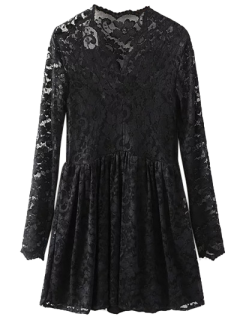 Lace V Neck Dress - Black M