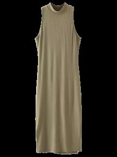 Robe Côtelée Avec Fentes Longues Aux Côtées Sans Manche - Olive Verte