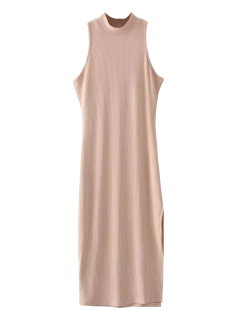 Slit Sleeveless Bodycon Ribbed Dress - Light Camel