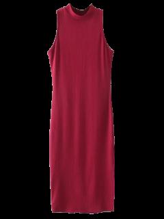 Slit Sleeveless Bodycon Ribbed Dress - Burgundy