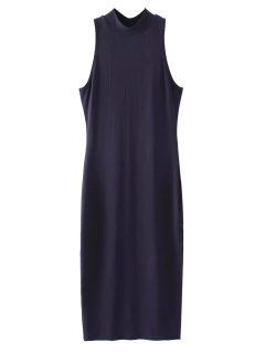 Slit Sleeveless Bodycon Ribbed Dress - Purplish Blue