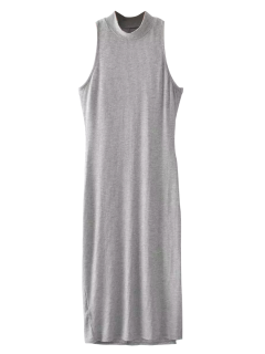 Slit Sleeveless Bodycon Ribbed Dress - Light Gray