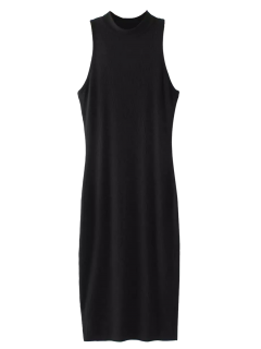 Hendidura Mangas Bodycon Vestido Acanalado - Negro