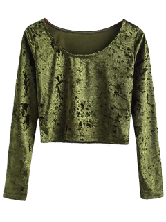 Camiseta Terciopelo Cuello Redondo Recortada - Ejercito Verde S