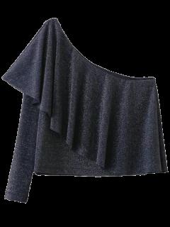 Eine Schulter Beiläufige Flounced T-Shirt - Dunkelgrau S