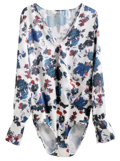 Sleeve Floral Long Bodysuit Surplice Top - Floral S