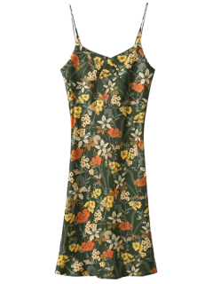 Cut Out Tiny Floral Slip Dress - Army Green S